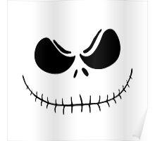 """Jack's Obession"" - Nightmare Before Christmas, Skellington, Pumpkin King, White, Grin, Evil, Halloween, Christmas Poster"