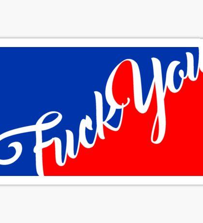 sport rot blau fuck you schimpfwort cool edel star sterne off text logo design beleidigung fick dich böse  Sticker