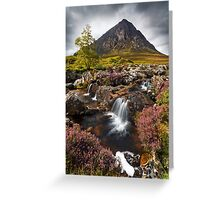 Buachaille Etive Mor and Heather. Glencoe. Highlands of Scotland. Greeting Card