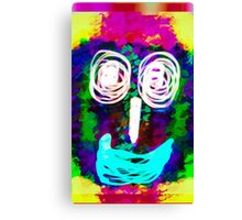 funny face with blue lip and pink green blue kisses abstract background Canvas Print
