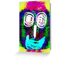 funny face with blue lip and pink green blue kisses abstract background Greeting Card