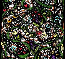 Black pattern with flowers by lisidza