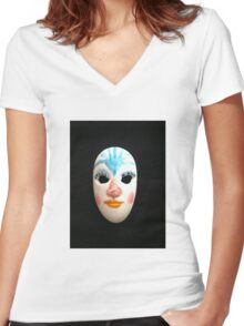 miniature mask Women's Fitted V-Neck T-Shirt