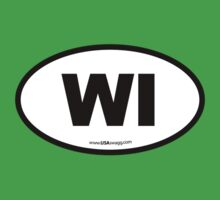 Wisconsin WI Euro Oval  Kids Clothes