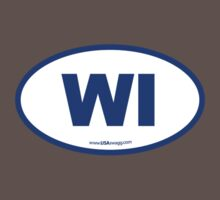 Wisconsin WI Euro Oval BLUE Kids Clothes