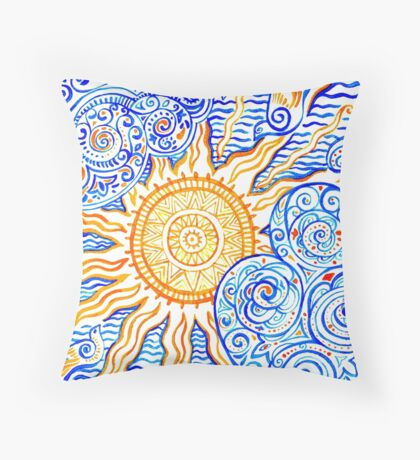 Ethnic style picture with Sun, birds and clouds Throw Pillow