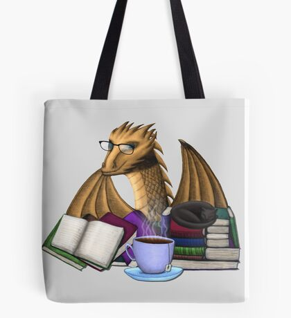 Bronze Dragon with Books, Tea, and Cat Tote Bag