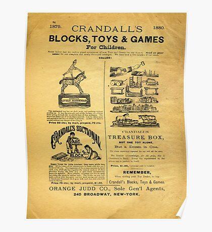1879-1880, CRANDALL'S BLOCKS TOYS & GAMES FOR CHILDREN Poster