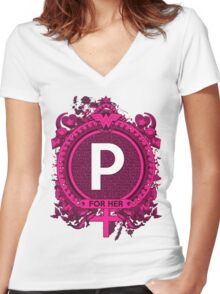 FOR HER - P Women's Fitted V-Neck T-Shirt