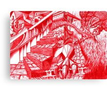Red Doodle Canvas Print