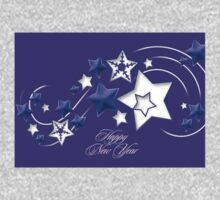 Blue and Purple Happy New Year Shooting Stars  One Piece - Short Sleeve