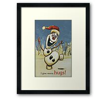 Olaf from Disney Frozen Gives Warm Christmas Hugs Framed Print