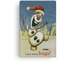 Olaf from Disney Frozen Gives Warm Christmas Hugs Canvas Print