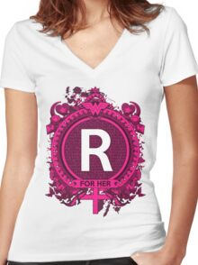 FOR HER - R Women's Fitted V-Neck T-Shirt