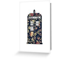 Floral TARDIS Greeting Card
