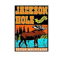 JACKSON HOLE WYOMING TETON VINTAGE MOUNTAINS MOOSE MOUNTAINS SKIING SKI Photographic Print