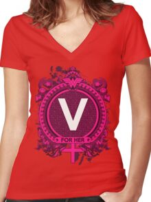 FOR HER - V Women's Fitted V-Neck T-Shirt