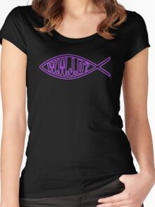 WWJD? Jesus Christ Son of God Lord Women's Fitted Scoop T-Shirt