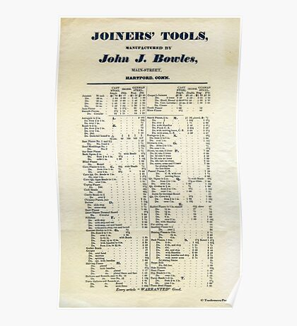 Ephemera: Wooden Plane Makers Price List c1840 J. J. Bowles of Ct. Poster
