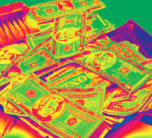 Broom Sweeping Up American Money Pop Art Sticker