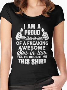 Proud Mother In Law Of Awesome Son in law Funny gift shirt Women's Fitted Scoop T-Shirt