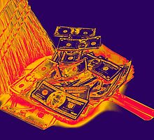 Broom Sweeping Up American Currency Pop Art by KWJphotoart
