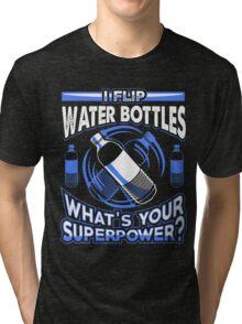 Water Bottle Flip Challenge School Trend Superpower Shirt Tri-blend T-Shirt