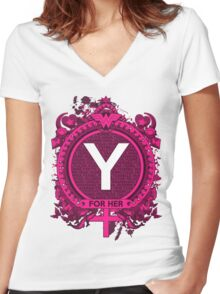 FOR HER - Y Women's Fitted V-Neck T-Shirt