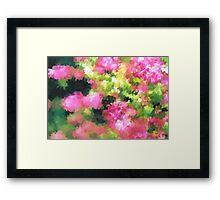 abstract nature bee flowers garden pink green Framed Print