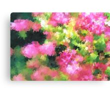 abstract nature bee flowers garden pink green Canvas Print