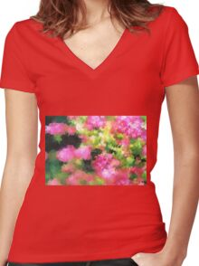 abstract nature bee flowers garden pink green Women's Fitted V-Neck T-Shirt