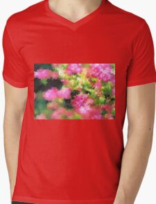 abstract nature bee flowers garden pink green Mens V-Neck T-Shirt