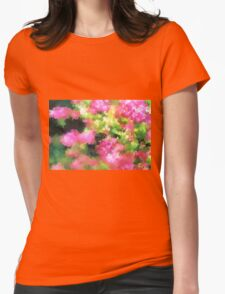 abstract nature bee flowers garden pink green Womens Fitted T-Shirt