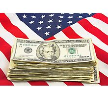 Stack of Money On American Flag  Photographic Print