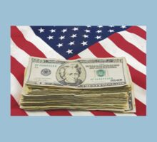 Stack of Money On American Flag  Kids Clothes