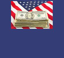 Stack of Money On American Flag  Unisex T-Shirt