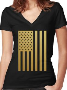Gold American Flag T Shirt and Merchandise  Women's Fitted V-Neck T-Shirt