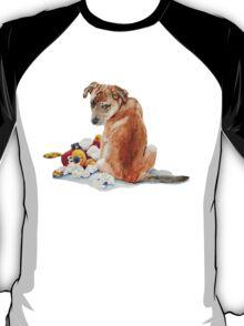 cute brown puppy with torn teddy bear T-Shirt