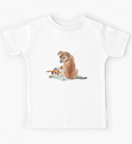 cute brown puppy with torn teddy bear Kids Tee