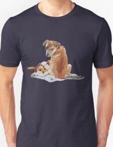 cute brown puppy with torn teddy bear Unisex T-Shirt