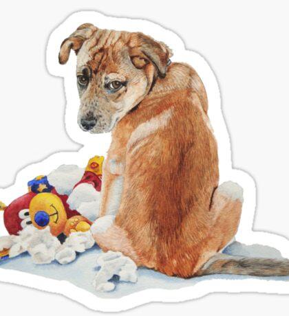 cute brown puppy with torn teddy bear Sticker
