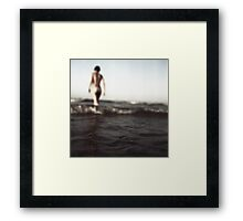 Young lady in bikini in sea square Hasselblad medium format  film erotic fine art analog photo Framed Print