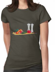 quirky still life realist art peppers and vegetables  Womens Fitted T-Shirt