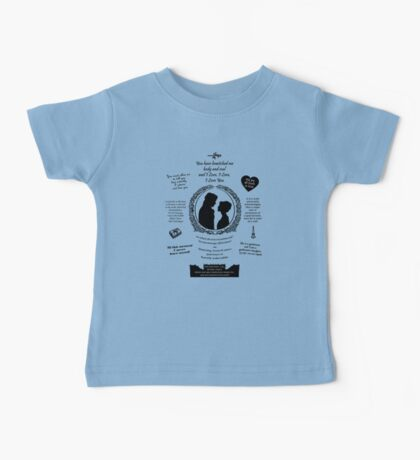 """Pride and Prejudice Elizabeth and Darcy """"Iconic Quotes"""" Silhouette Design  Baby Tee"""