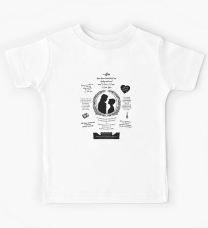 "Pride and Prejudice Elizabeth and Darcy ""Iconic Quotes"" Silhouette Design  Kids Tee"