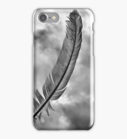 Simple,single feather under storm clouds iPhone Case/Skin