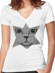 Pixel Kitty Cat Women's Fitted V-Neck T-Shirt