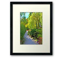 Weeping Willow & Walkway, Buchart Gardens, BC Framed Print