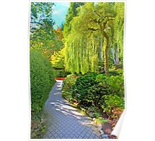 Weeping Willow & Walkway, Buchart Gardens, BC Poster