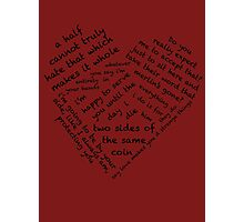Quotes of the Heart - Merthur (Black) Photographic Print